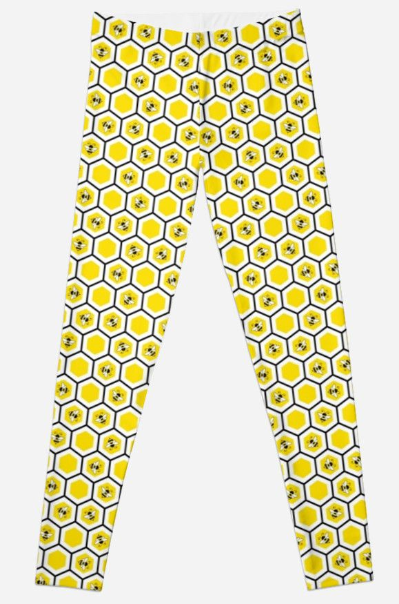 """""""Honeycomb and bee pattern"""" Leggings by Stock Image Folio 