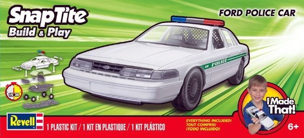 This Kit features Police light bar, rear seat divider, snap construction, and rolling wheels (no screws or glue required).