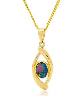 Bright Australian Light Opal Doublet pendant.  Great design, great colour in this Australian Light Opal Doublet 14k Yellow Gold ring. This pendant has fantastic red colour, red is the most sought after by our Opal buyers when sourcing opals in quality opal mines in Coober Pedy, South Australia.  The colour of ring is very desired in the market place, if you are looking for rare piece this is the item for you. #opalsaustralia