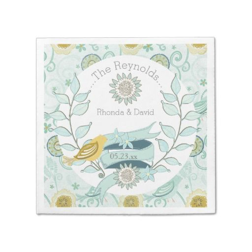 Custom Whimsical Blue Floral Wedding Paper Napkins