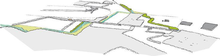 Vogelvlucht van het schetsontwerp van de Jufferbeek, Dienst Landelijk Gebied, Landschapsontwerp, 2013, Marian van de Hulsbeek en Maurice Wenker