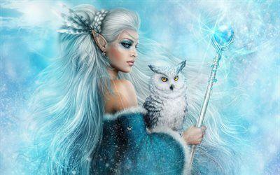 Scarica sfondi arte, fantasia, ragazza, elf, gufo bianco