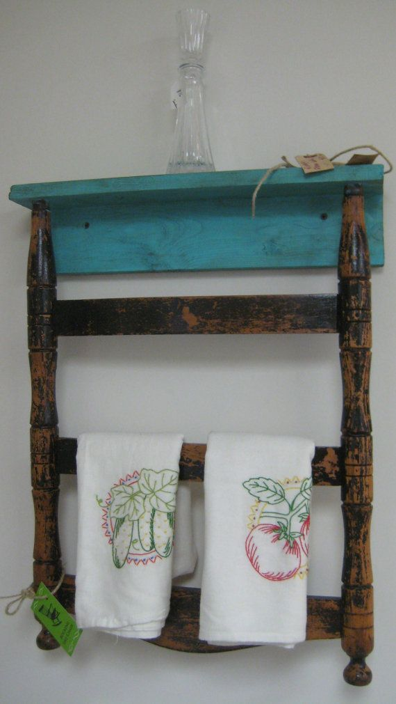 Repurposed Chair Back Wall Shelf Towel Rack By