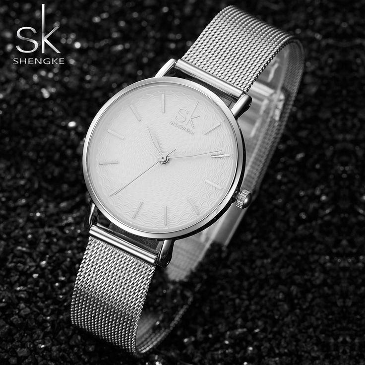 SK Super Slim Tira de Malha de Aço Inoxidável Relógios Senhoras Relógio de Pulso Das Mulheres Top Marca de Luxo Relógio Ocasional Senhora Relogio feminino em Relógios das mulheres de Relógios no AliExpress.com | Alibaba Group