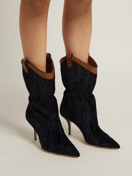 9d26faa852356 Malone Souliers Daisy velvet and leather ankle boots | s t y l e ...