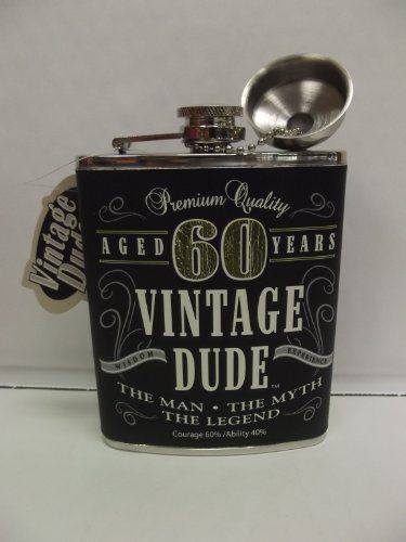 Vintage Dude Flask 60 Milestone 60th Birthday By 1613 Gift Stainless Steel Measures 3