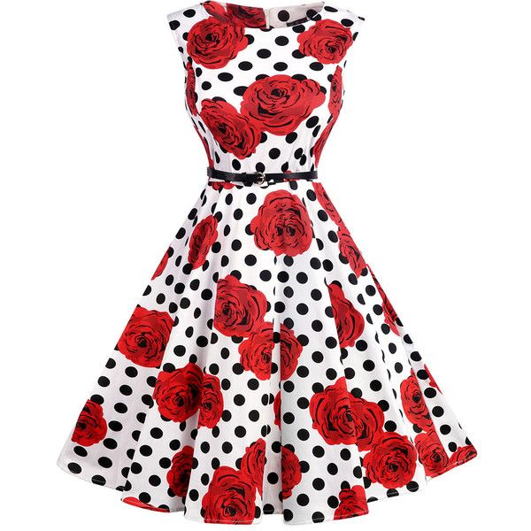 Floral Polka Dot Printed Round Neck Belt Cotton Skater Dress ($37) ❤ liked on Polyvore featuring dresses, floral party dress, party dresses, white polka dot dress, white dress and night out dresses