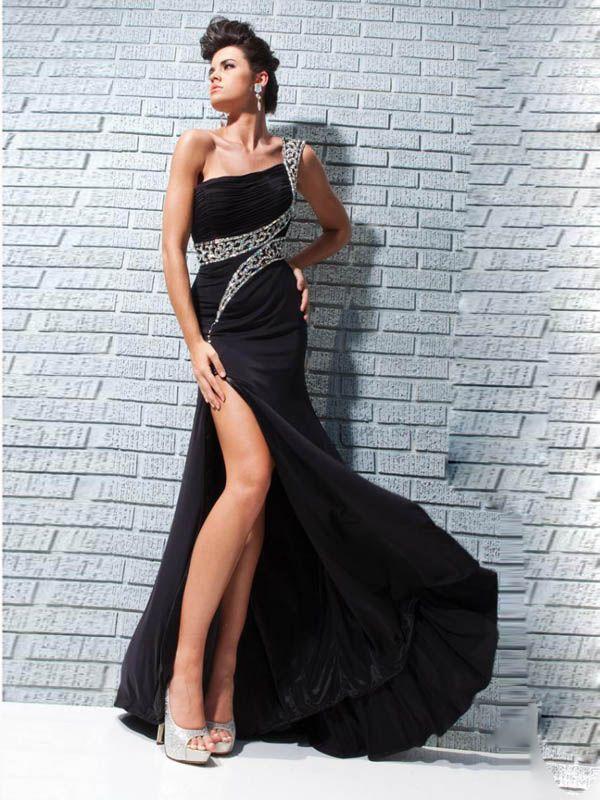 One Shoulder Rhinestones Appliques Side Slit 2015 Formal Dresses
