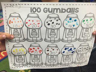 FREEBIE! 100 Gumballs- 100th day of Kindergarten