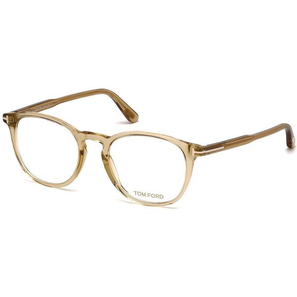 TOM FORD Round Optical Frames (7,175 MXN) ❤ liked on Polyvore featuring accessories, eyewear, eyeglasses, champagne, tom ford eye glasses, clear champagne glasses, tom ford, rounded glasses and champagne glasses