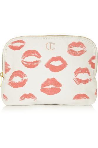 Printed cotton-canvas makeup bag #accessories #women #covetme #charlottetilbury