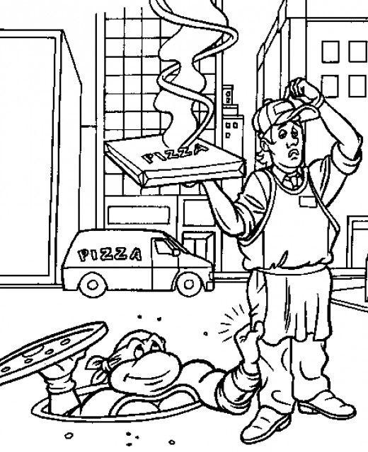 teenage mutant ninja turtles printable coloring pages - Ninja Turtle Pizza Coloring Pages