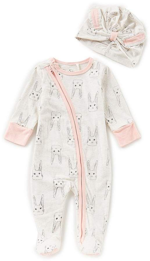fedff493909f Jessica Simpson Baby Girls Newborn-9 Months Bunny-Print Footed Coverall    Hat Set  babygirl