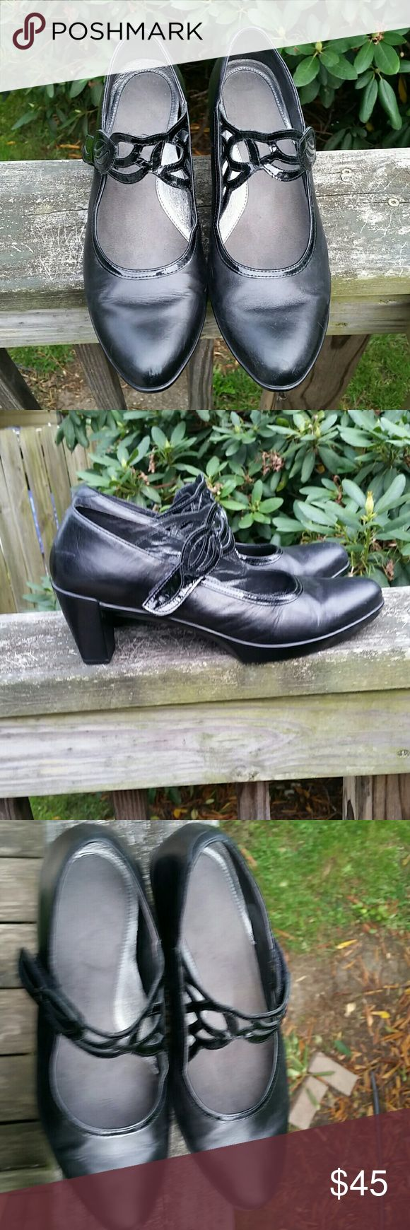 "NAOT ""Luma"" Dress Shoe size 11 Preowned Naot brand leather/patent leather heels ***Women's size 11 (THEY SEEM TO RUN SMALL,  they fit more like a 10--these fit me with no problem, I am a size 10 2 3/4"" heel with 1/2"" platform In good condition Naot Shoes Heels"