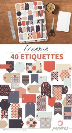 Freebie - 40 étiquettes à télécharger pour embellir tous vos projets de scrapbooking. A uriliser au format digital ou à imprimer. Cliquez pour les télécharger. | www.paperns.com