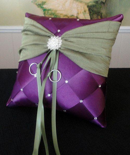 Wedding Ring Bearer Pillow, Purple Plum Olive Green Or