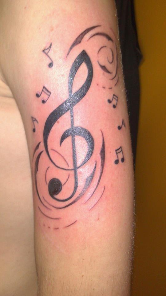 tattoo tatouage clef de sol note bras