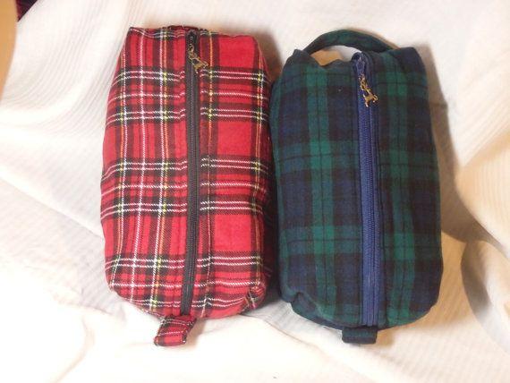 Scottish Tartan, Flannel Bag, Travel Pouch, Shaving Kit, Dopp Kit, Ditty Bag, Zip Pouch, Go Bag - Royal Stewart or Black Watch