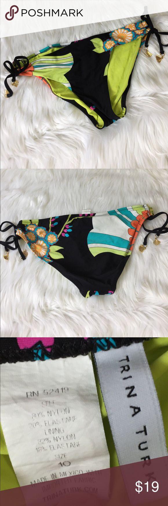 Trina Turk bikini bottoms gold seashell tie sz 10 Vibrant bikini bottoms from Trina Turk.  Side ties with gold seashell embellishment.  Size 10. Trina Turk Swim Bikinis