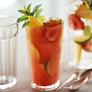 Mock Sangria When entertaining guests at a summer cookout, start off the festivities with this low-calorie three-fruit beverage served over ice.