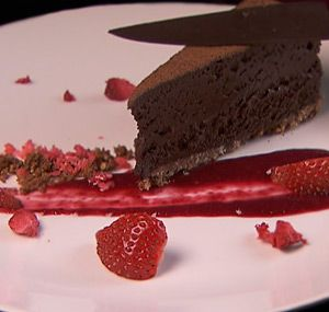 Boca Loca Chocolate Mousse with Cacao, Berry Coulis and Strawberries | My Kitchen Rules NZ 2014