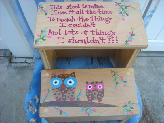 Two owls toddler two step stool by TLTwoodworks on Etsy, $35.00