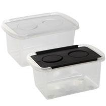Bulk Plastic Storage Boxes with Hinged Lids, 3 qt. at DollarTree.com