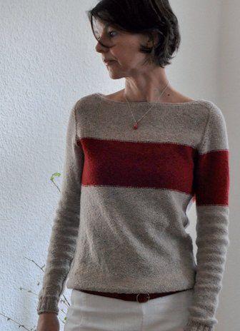 Пуловер Holsten вязаный без швов сверху вниз с контрастной полосой на рукаве и груди в технике Интарсия.
