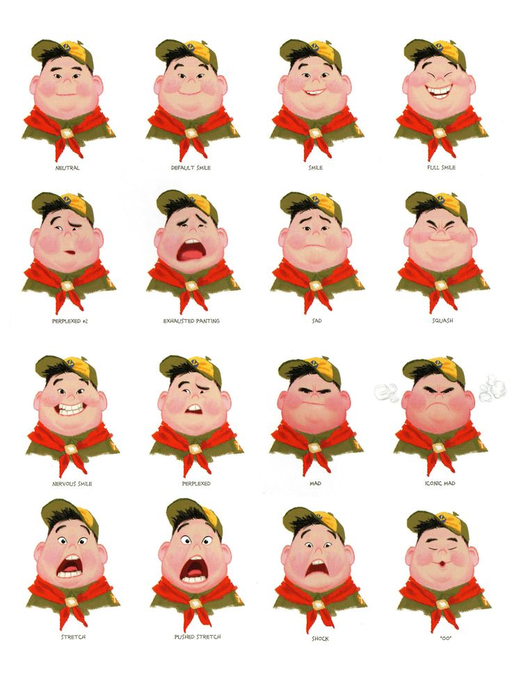 """""""Russell"""" Facial Expressions - from Pixar's Up - Blog/Website   (www.pixar.com) . Use for a today I feel board."""