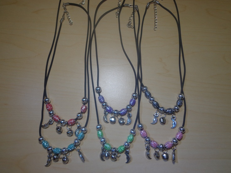 Assorted colors and shapes necklaces  material:plastic, made from China  18 inches of good quality chain that will stand daily wear.