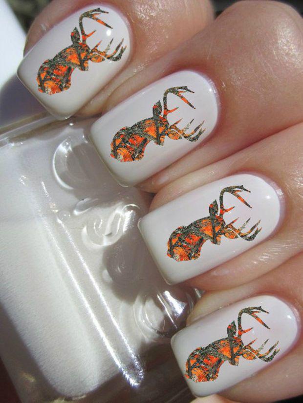 orange camo deer head nail decals