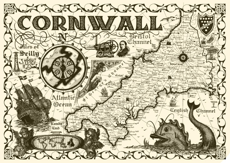 decorative maps | Decorative Cornwall map, sea mosters by Dylan Cotton