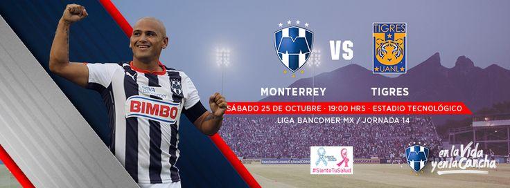 Jornada 14 de la LIGA Bancomer MX: Clásico 103. Club de Futbol Monterrey vs. TigresOficial el sábado 25 de octubre a las 19:00hrs en el Estadio Tecnológico.#VamosRayados
