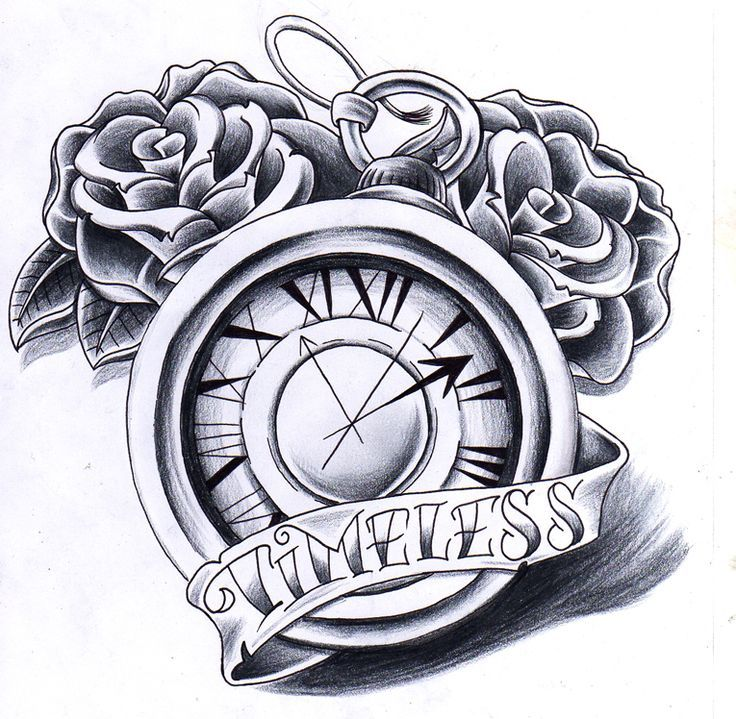 clock and rose tattoo designs - Google Search