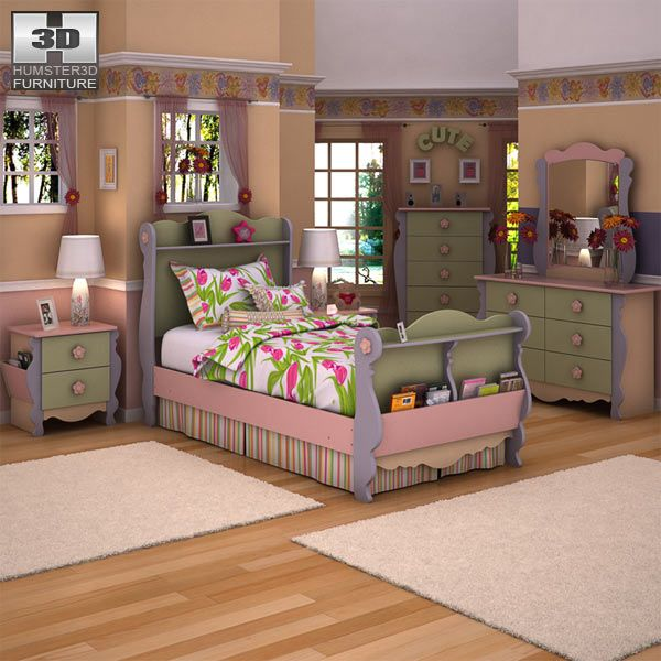 Pictures Of Doll Furniture   Ashley Doll House Sleigh Bedroom Set 3D Model  Download In .