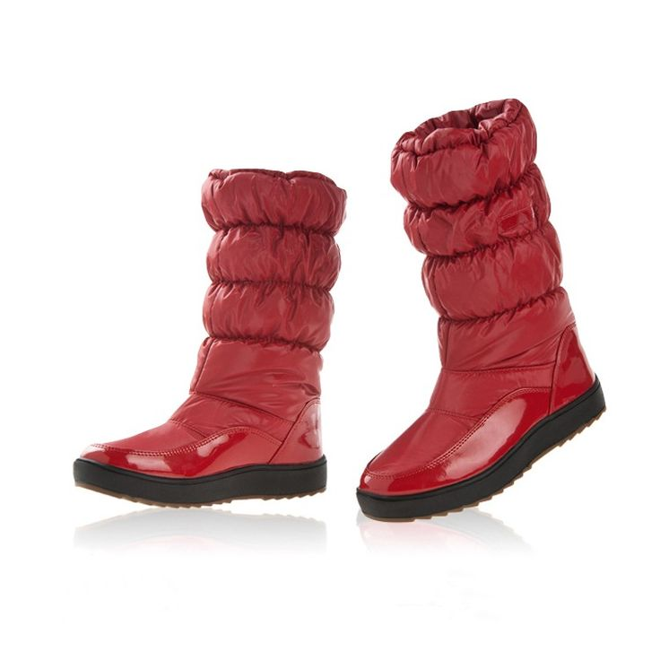 Winter Women Boots Japanned Leather Waterproof Snow Boots Flat Sales Online red 8.5 - Tomtop.com
