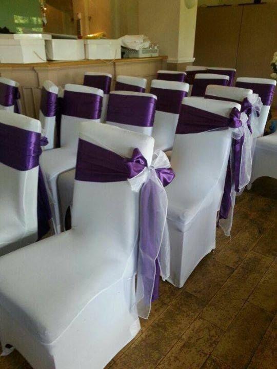 Purple chair sash Wedding ideas