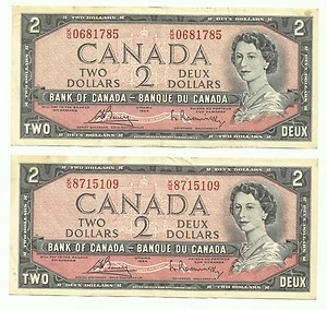 Lot of 2 Old 1954 Canadian $2 Dollar Paper Money Bills..My Grandpa would send me one of these every birthday :)