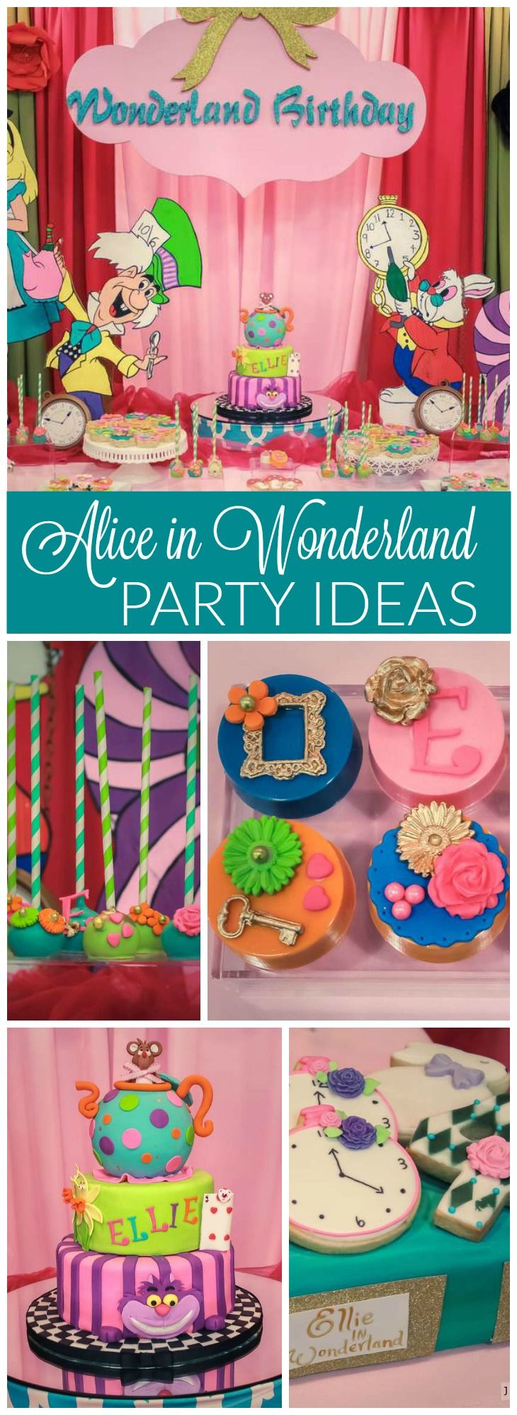 Check out this gorgeous Alice in Wonderland birthday party! See more party ideas at CatchMyParty.com!