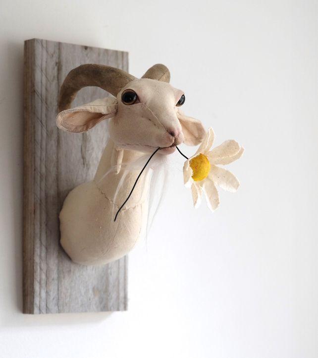 Flower munching mini goat. Faux taxidermy farm animal head textile sculpture