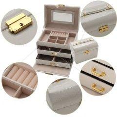 Luxusní 3-patrová šperkovnice kufřík na šperkyPošta Zdarma
