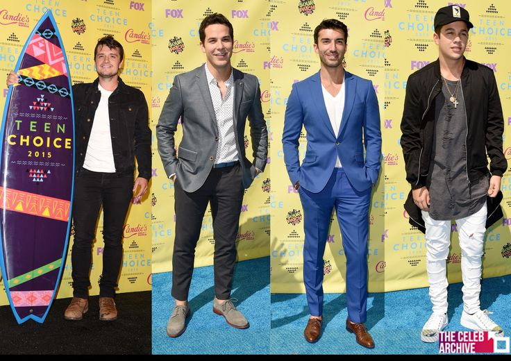 Several Male celebrity stars attend the 2015 Teen Choice Awards held at the Galen Center on Sunday (August 16) in Los Angeles. Let's vote your favourite!   1. Josh Hutcherson 2. Skylar Astin 3 Justin Baldoni 4. Austin Mahone