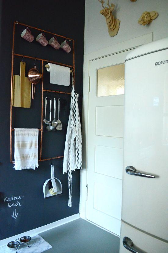 DIY Kupferrohr Küchenaufbewahrung