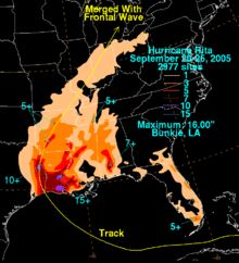 Hurricane Rita was the fourth–most intense Atlantic hurricane ever recorded and the most intense tropical cyclone ever observed in the Gulf of Mexico. The eighteenth named storm, tenth hurricane, and fifth major hurricane of the 2005 season,