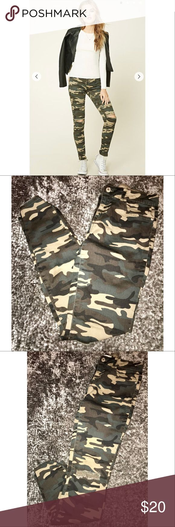F21 Camo Skinny Jeans Forever 21 Camo Skinny Jeans with rips at the knees. Size: US 28. Barely worn! Forever 21 Jeans Skinny