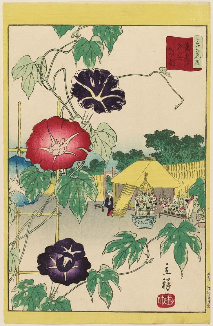 Utagawa Hiroshige II: Morning Glories at Iriya in the Eastern ... Asagao/Morning Glory is a summer motif for chanoyu.
