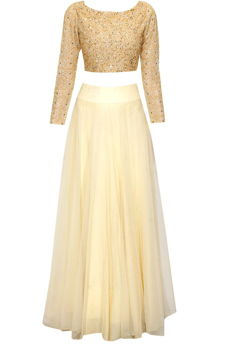 Pale gold beads embroidered flared lehenga set available only at Pernia's Pop Up Shop.