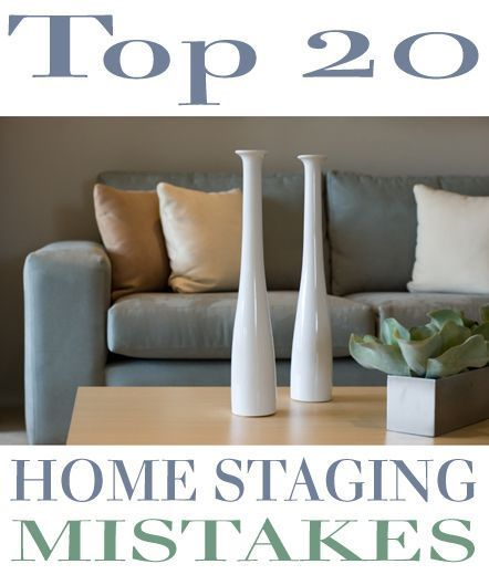 Home staging is quickly becoming a necessity and an integral part of selling real estate. Gone are the days when staging was simply an option; in today's tough real estate market proper staging is the only way to set your house apart from the competitors down the street or in the same neighborhood. Make sure you do not make the top 20 mistakes when staging your home.