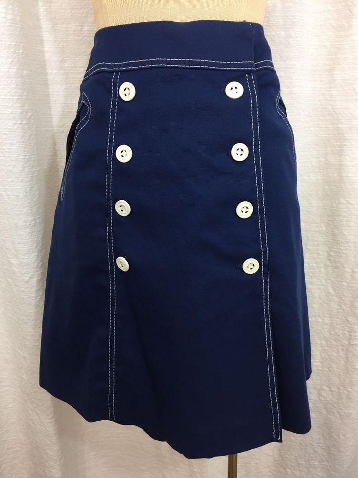 Vintage Blue Nautical Skirt Skort White Stag Button Front Mod Wrap Skirt 1970s M  | eBay