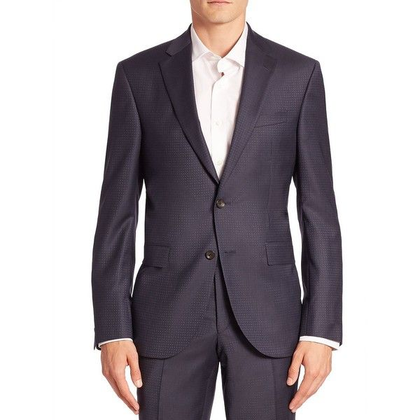 Jack Victor Modern Geometric Wool Suit Jacket (475,430 KRW) ❤ liked on Polyvore featuring men's fashion, men's clothing, men's outerwear, men's jackets, mens jackets, mens wool jacket, mens blue jacket and mens wool outerwear